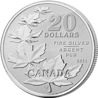 2011 Maple Leaf $20 for $20 Silver Coin