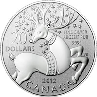 2012 Magical Reindeer $20 for $20 Silver Coin