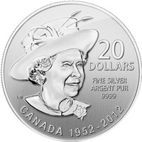 2012 Queen's Diamond Jubilee $20 for $20 Silver Coin