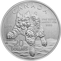 2014 Bobcat $20 for $20 Silver Coin
