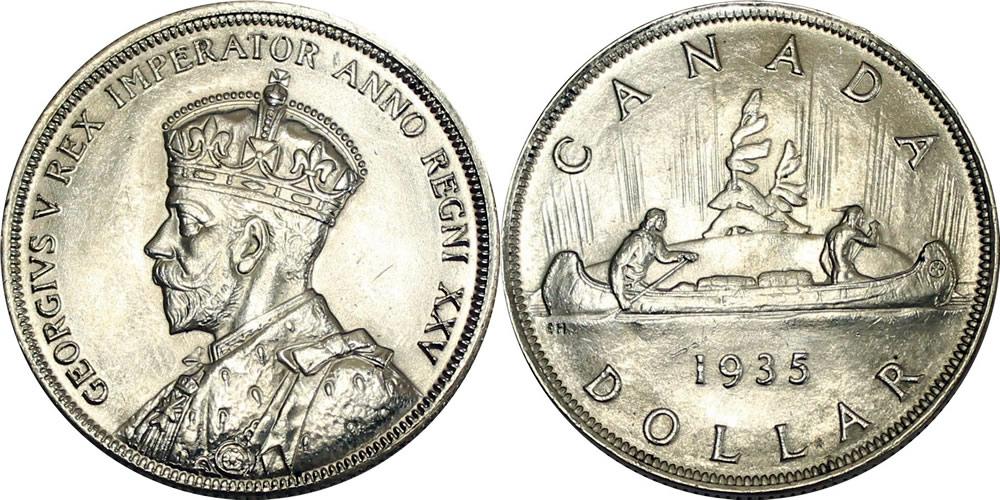 1935 Canadian Silver Dollar Swl 1935 Swl Silver Dollar