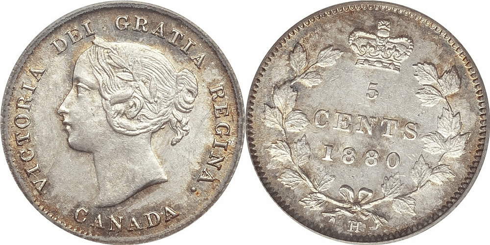 Victoria Five Cent - Nickel 1880 H PCGS AU55