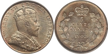 1902 Edward VII Five Cent / Nickel