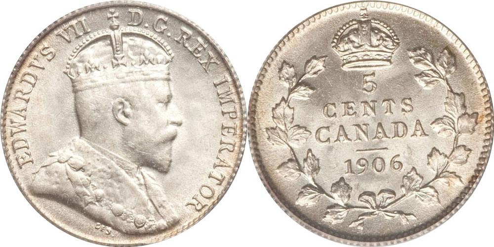 Edward VII Five Cent -...