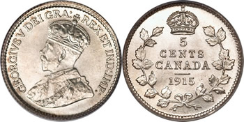 1915 George V Five Cent / Nickel