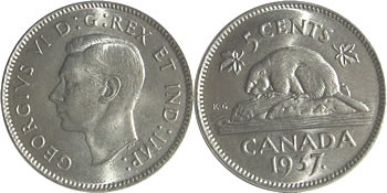 1937 George VI Five Cent / Nickel