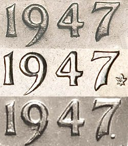 1947 george vi five cent nickel mintage photos specifications