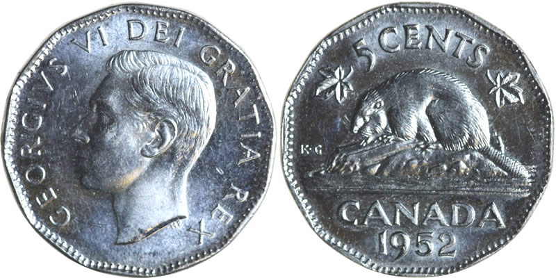 1952 George VI Five Cent - Nickel Mintage, Photos