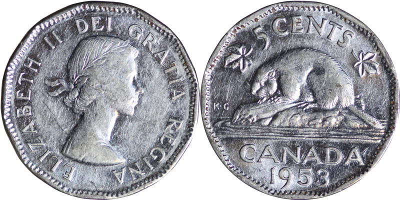 1953 Elizabeth Ii Five Cent Nickel Mintage Photos