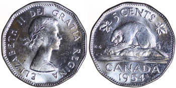 1954 Elizabeth II Five Cent / Nickel