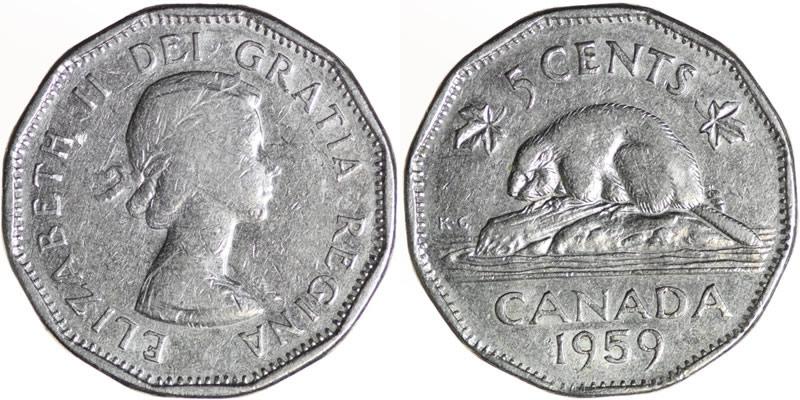 1959 Elizabeth II Five Cent - Nickel Mintage, Photos