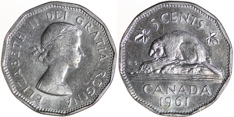 1961 Elizabeth Ii Five Cent Nickel Mintage Photos
