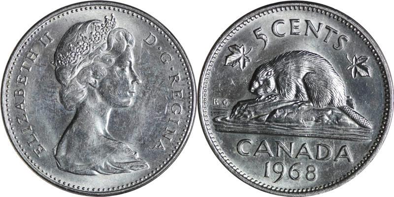 1968 Elizabeth II Five Cent - Nickel Mintage, Photos