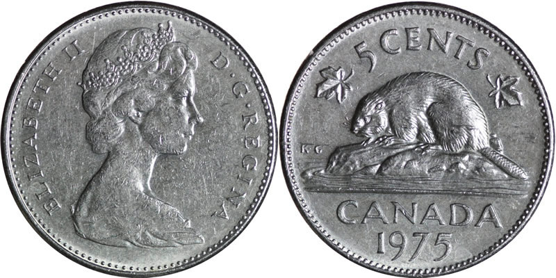 1975 CANADA 5 CENTS PROOF-LIKE NICKEL COIN