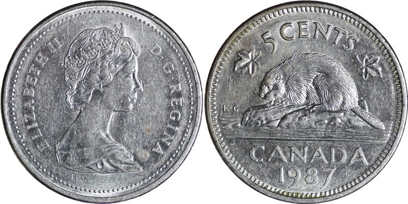 1987 Elizabeth II Five Cent - Nickel