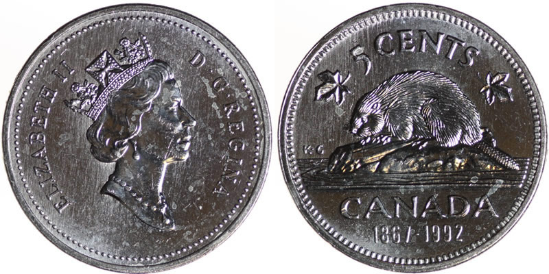 1992 Elizabeth II Five Cent - Nickel