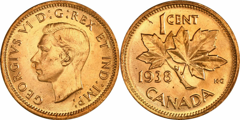 1938 George Vi Small Cent Mintage Photos Specifications Errors Varieties Grading And Much More