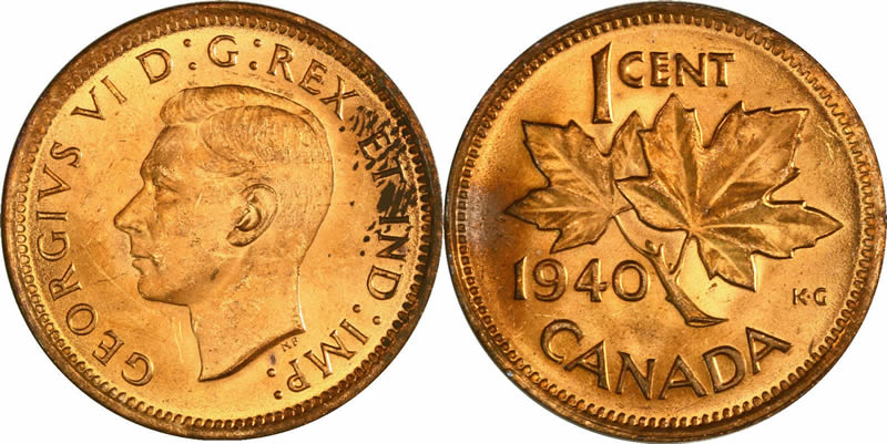 1940 Canada Penny Circulated One Coin From The Lot.