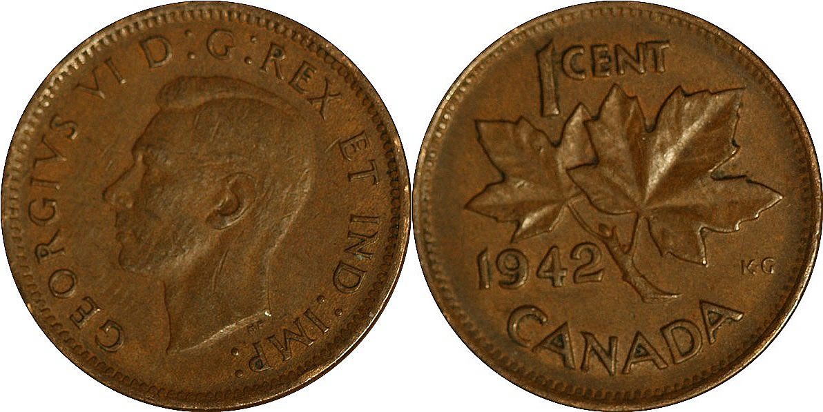 1942 George VI Small Cent Mintage, Photos, Specifications