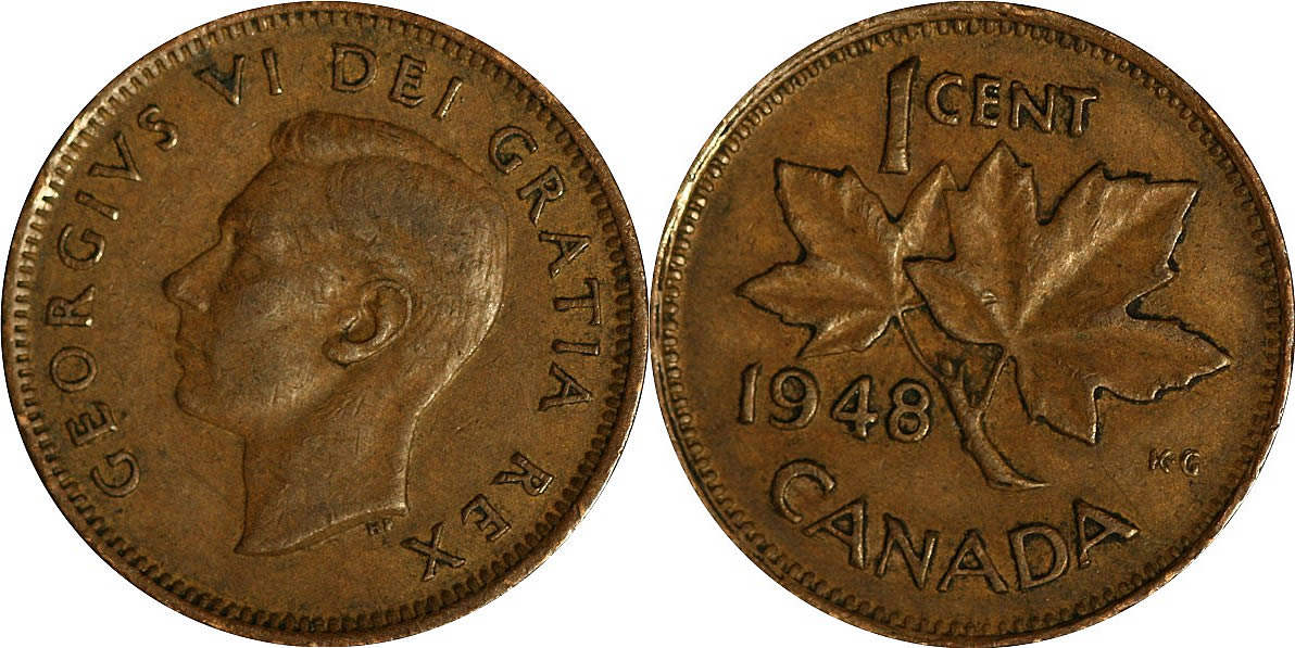 Canada 1948 1 Cent Copper Coin One Canadian Penny Nice