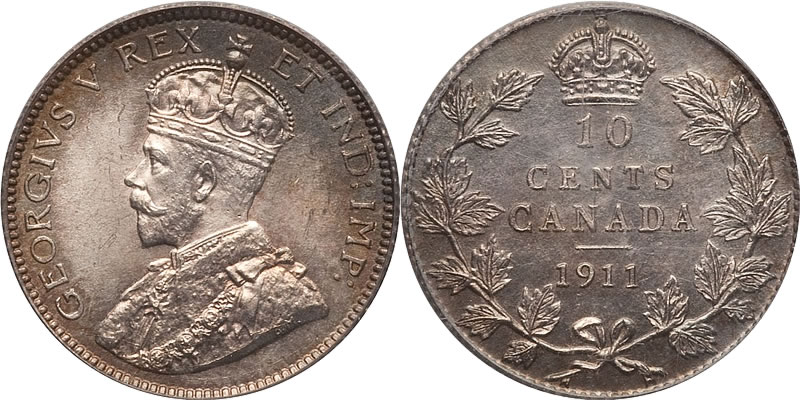 George V Ten Cent - Dime Photos, Mintage, Specifications
