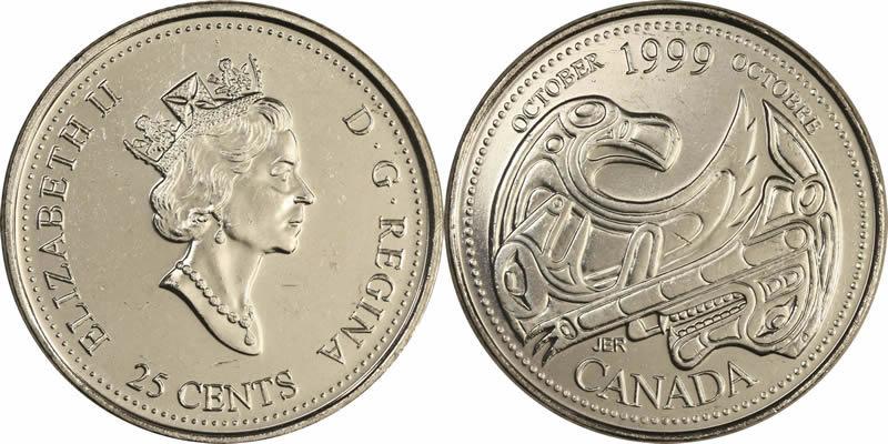 Canada 1999 Millennium October 25 Cent Mint Grade Coin