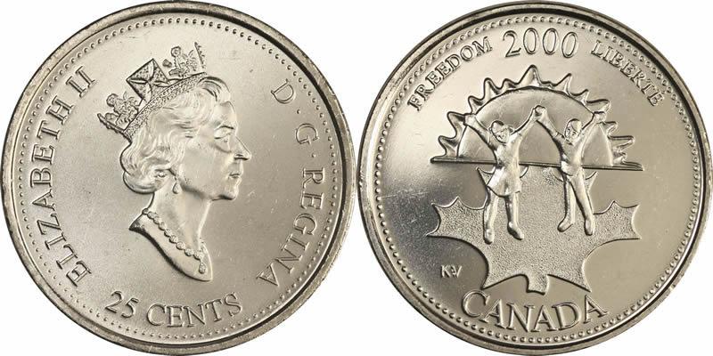 2000 CANADA 25¢ NOVEMBER FREEDOM BRILLIANT UNCIRCULATED QUARTER