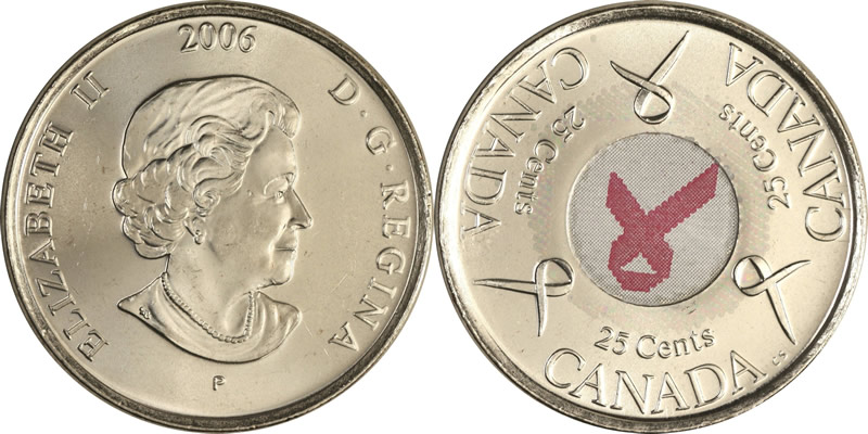 Elizabeth II Twenty Five Cent - Quarter 2006 P Breast Cancer Awareness Quarter