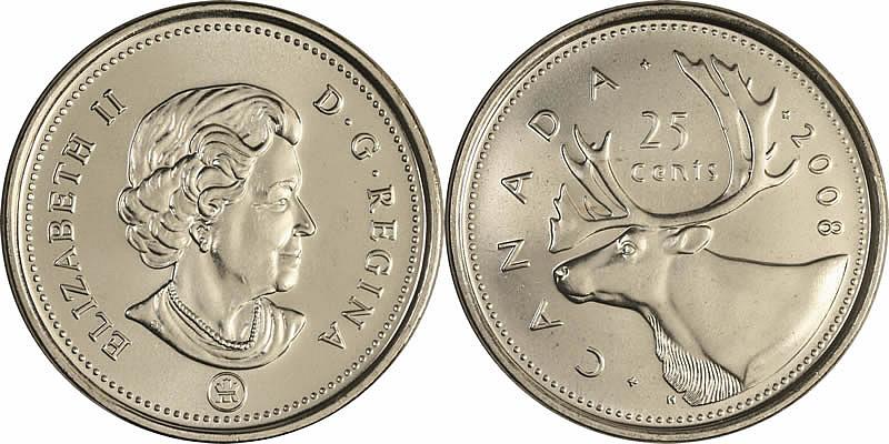 2008 Elizabeth II Twenty Five Cent - Quarter Mintage, Photos