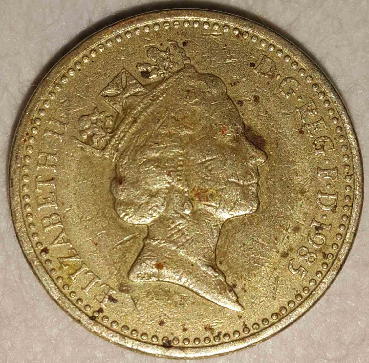 One pound elizabeth ii coin 1985 : Benjamin franklin