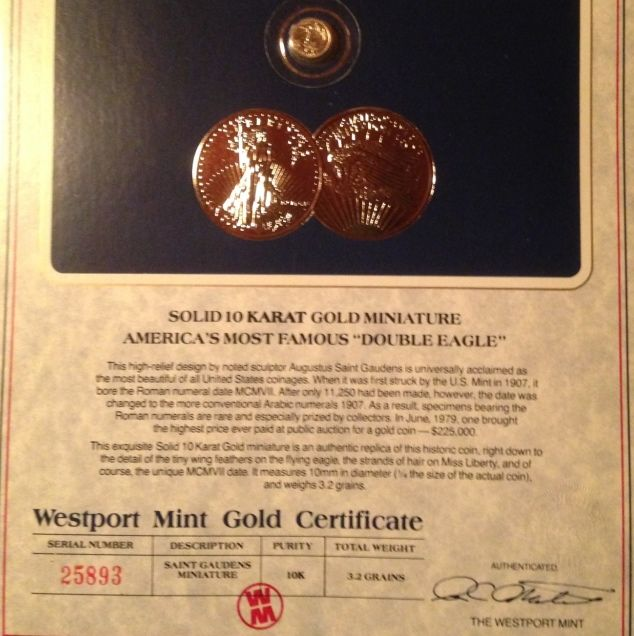 Westport Mint Miniature St Gaudens Is This Gold Or Trash