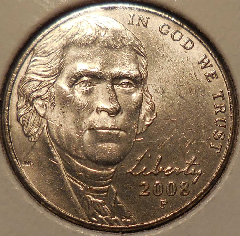 2008-P Jefferson Nickel Die Clash with Triple Trails - Coin
