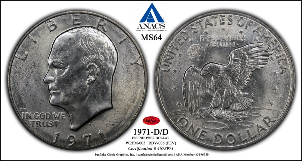 1971-D/D RPM Eisenhower Dollar (ANACS MS64) with 3-D Rendered