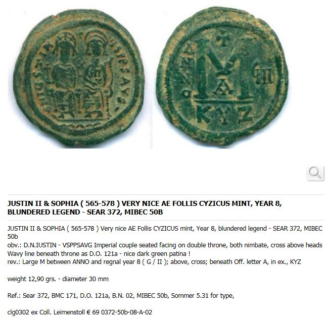 Sunny Coin Byzantium Follis Justin Ii & Queen Sophia 565-578 Ad. Coins: Ancient Coins & Paper Money