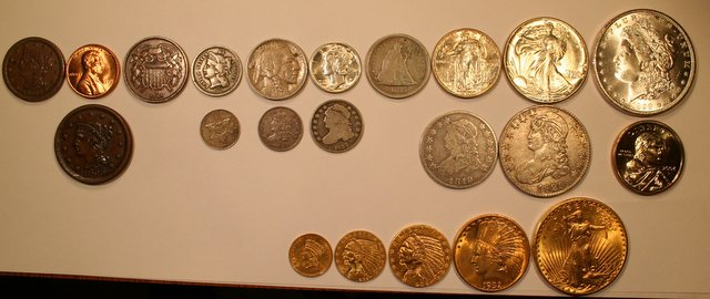 Picture of a almost complete denomination set of U.S. coins - Coin ...