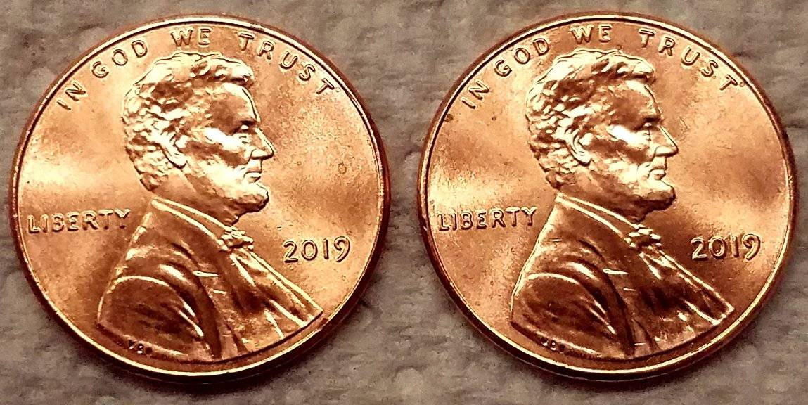 2019-P Lincoln Cent Curved Issue Same Exact Location Two Different