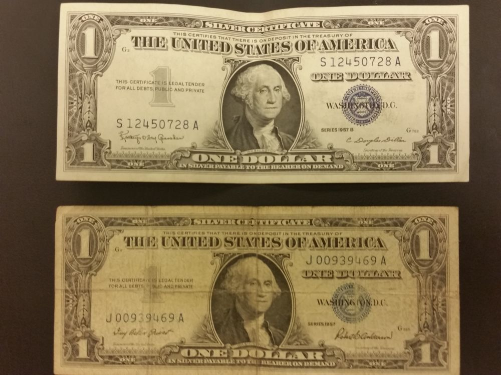 1957 silver certificate; Error or age? - Coin Community Forum