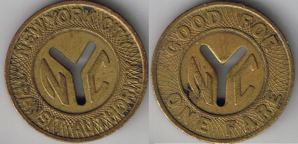 New York City Transit Authority Fare Token
