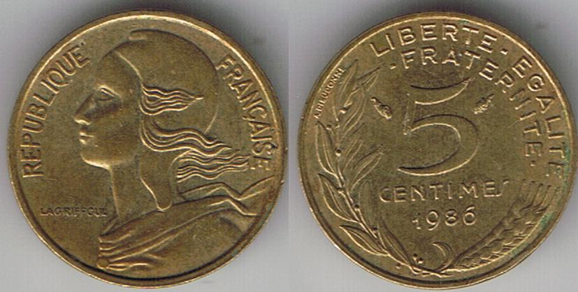 1986 France 5 Centimes Auction At Coin Community Forum