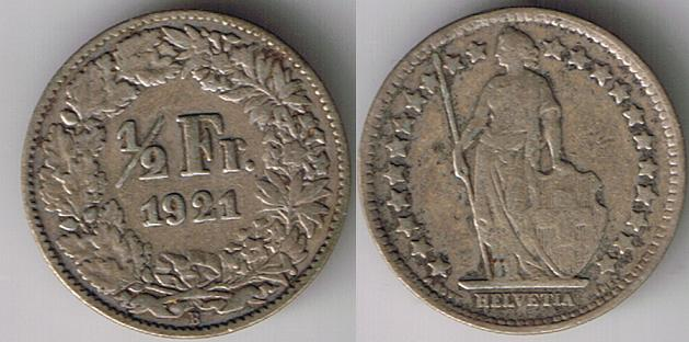 1921 Switzerland half franc (silver under melt)
