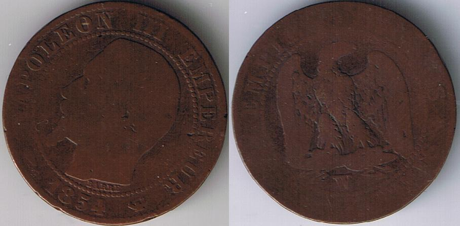 1854 W French Empire 5 Centimes Napoleon III