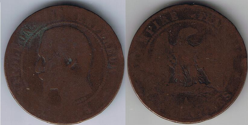 1855 A French Empire 10 Centimes Napoleon III