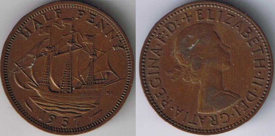 1957 United Kingdom half pence