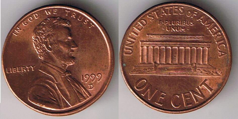 1999 d Cent misaligned die error