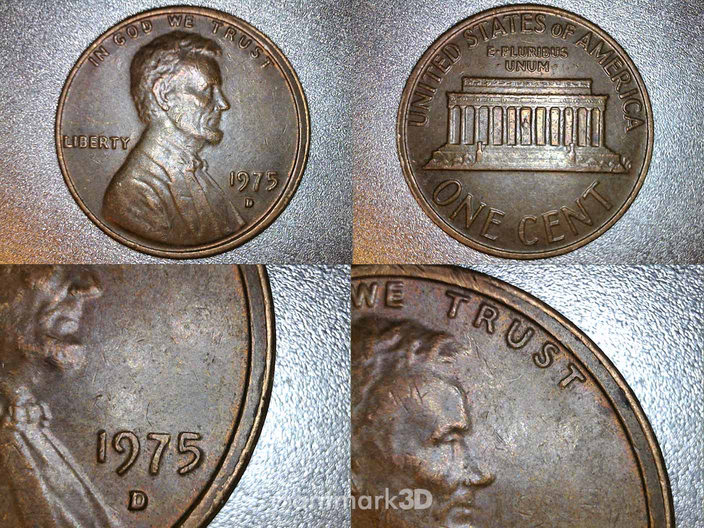 1975 D Lincoln cent with a strong double rim - Coin
