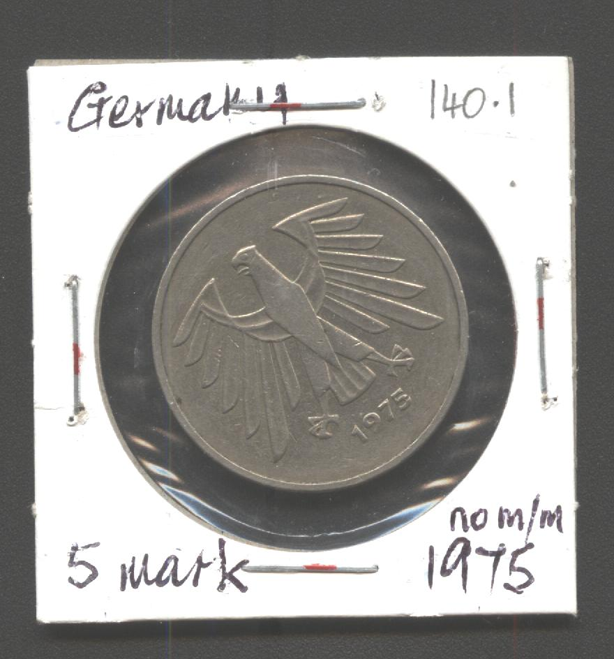 german 1975 5 mark no mm coin community forum. Black Bedroom Furniture Sets. Home Design Ideas