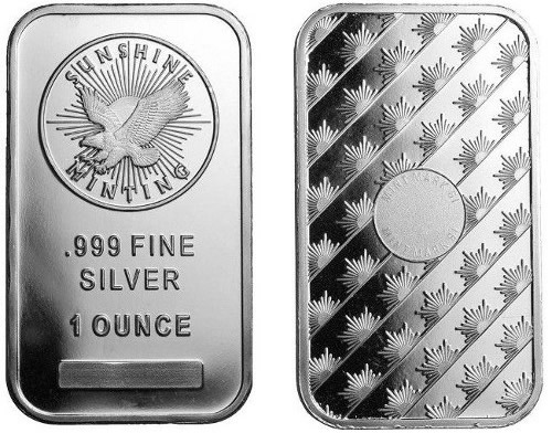 1 Oz Sunshine Silver Bars 89 162 Over Spot 2015 1 Oz Sioux