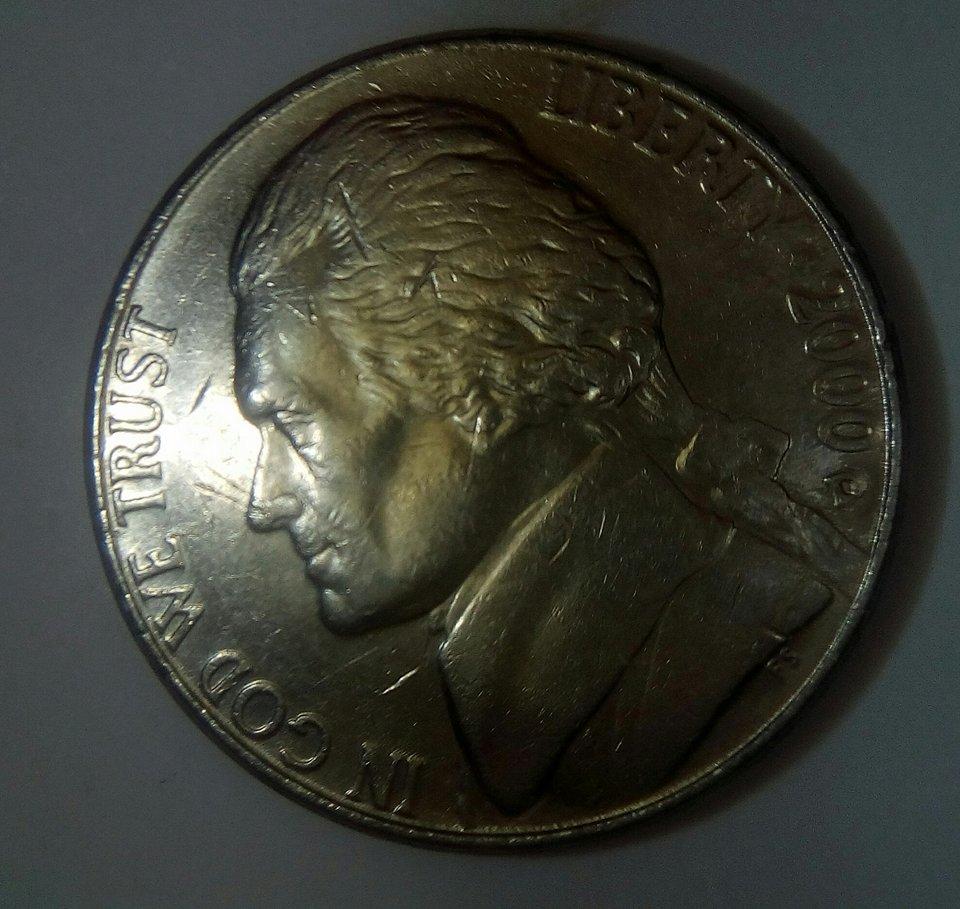 2000D jefferson nickel doubled die reverse   - Coin