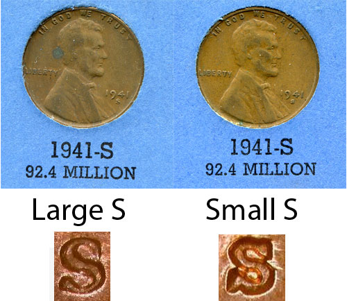 1941 Lincoln Wheat Cent / LWC Large S vs Small S - Coin