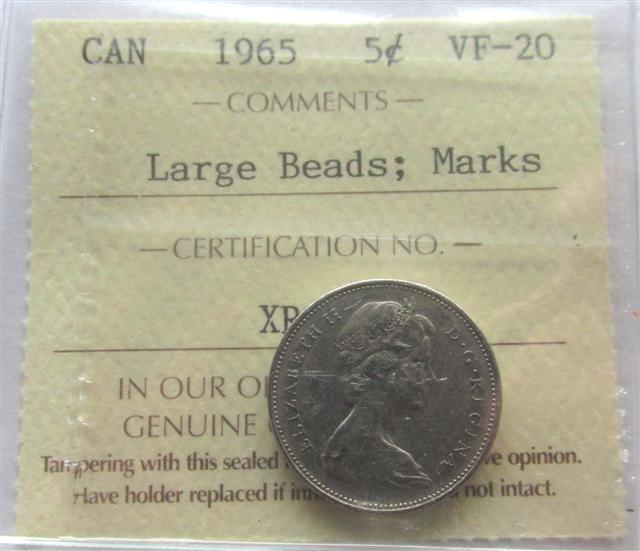 1965 Canadian Nickel Large Beads Variety